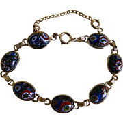 Vintage Gold Tone Bracelet with Millefiori Glass Cabochons