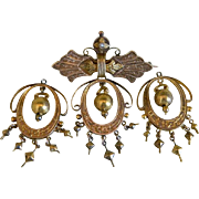 Victorian 14 k Yellow Gold Brooch with Earrings