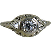 Art Deco 14 k White Gold Miner's Cut  Diamond Ring