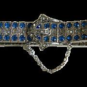 Art Deco Sterling Silver Diamonbar Buckle Bracelet, Patent 1917
