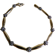 Vintage 10 kt Yellow Gold Bracelet with Small Diamonds