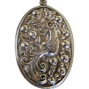 Vintage Sterling Silver International Silver Partridge in a Pear Tree Oval Pendant, 1960's