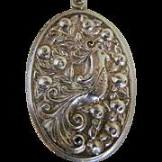 Vintage Sterling Silver International Silver Partridge in a Pear Tree Oval Pendant, 1960's