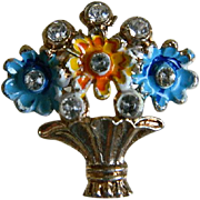 Vintage Flower Basket Brooch, 1930's