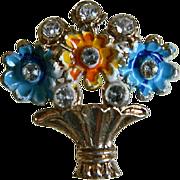 Vintage Flower Basket Brooch, 1930's