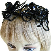 Black Sequin Hat or Hair  Decoration,  1920's until 1940's