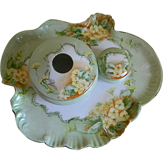 Antique Vienna Austria Porcelain Dresser or Vanity Set