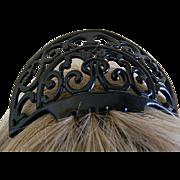 Art Deco Black Celluloid Hair Comb