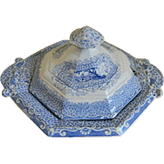 Antique 1840's Staffordshire, England Gipsy Transferware Covered Butter Dish
