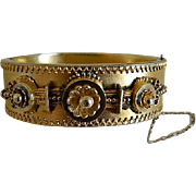 1880 Antique Victorian Etruscan Revival Style Hinged Gold Filled Bangle Bracelet