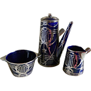 Lenox Company Cobalt with Silver Overlay Chocolate Pot with Creamer and Open Sugar Bowl