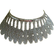 Vintage Whiting and Davis Mesh Silver Tone Necklace, 1970's