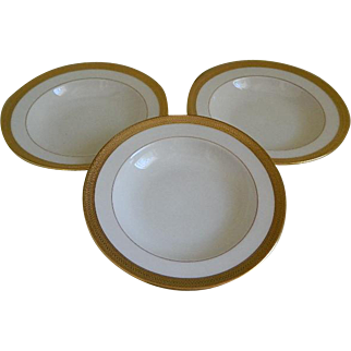 Made for Tiffany and Co. Lenox Gold Encrusted Bowls, P.67 Lowell Pattern, Green Backstamp, 1917