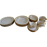 Lenox Gold Encrusted  China, The Trentino M157 Pattern, Greenstamp, 30 Piece Set Made for Tiffany and Co. also Marshall Field and Company, 1915