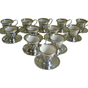 Set of 12 Lenox Demitasse Cups, Meriden Silver Sterling Silver Cup Holders and Saucers, 1906 until 1930's