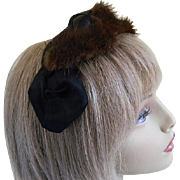 Vintage Mink and Black Silk Hat, 1960's