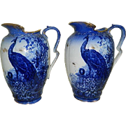 Antique, Rare Pair of Thomas Furnival and Sons, Limited of Cobridge, Staffordshire, England Peacock Flow Blue Pitchers, 1871 until 1890
