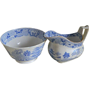 Antique, England, 1820 until 1830's Sugar and Creamer with Chinoiserie Design