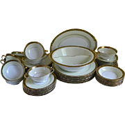 Set of 46 Noritake China, Pattern Goldkin, U.S. Patented 100332, 1930's