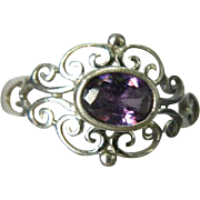 Vintage Sterling Silver Ring with Faceted Natural Amethyst Stone