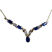 Vintage 14k Yellow Gold Natural Sapphire and Diamond Necklace
