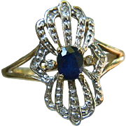 Vintage 10 k Gold Sapphire with  Diamonds Ring