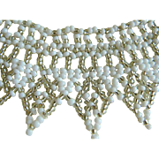 Vintage Beaded Necklace with White and Silver Beads