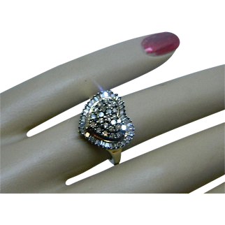 Vintage 10 K Yellow Gold Heart Shaped Ring with 50 Baguette and 25 Round Diamonds