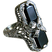 Art Deco 14k White Gold Onyx with Center Diamond Ring, J J White, Providence, R I