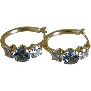 Vintage 14k Hoop Pierced Earrings with Simulated Aqua Marine and Cubic Zirconia