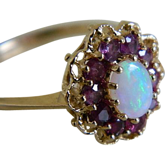 Vintage 14k Yellow Gold Opal Ring with Purple Garnets