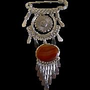 Art Nouveau Agate and Sun Pin