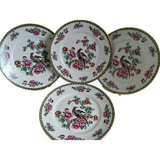 1910, Set of 5, F. Winkle and Co., England Pheasant Whieldon Ware Plates