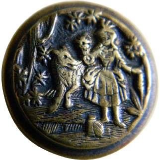 Victorian Brass and Black Enamel Little Red Riding Hood and Wolf Button