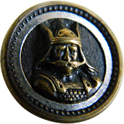 Victorian Viking or Norse God Brass Button with Black Enamel