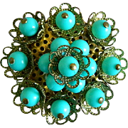Czech Brass Brooch with Robin Egg Blue Colored Beads