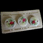 Antique Hand Painted Porcelain Button Studs Frank W. Norton & Co., Minneapolis, Minnesota