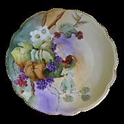 Moritz Zdekauer Austria Hand Painted Grapevine Plate  1910-1918