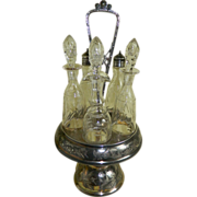 Antique Silver Plated Cruet Set with Glass Bottles