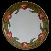 Thomas Sevres Bavaria Hand Painted Tulip Plate, Artist Signed 1908 - 1934