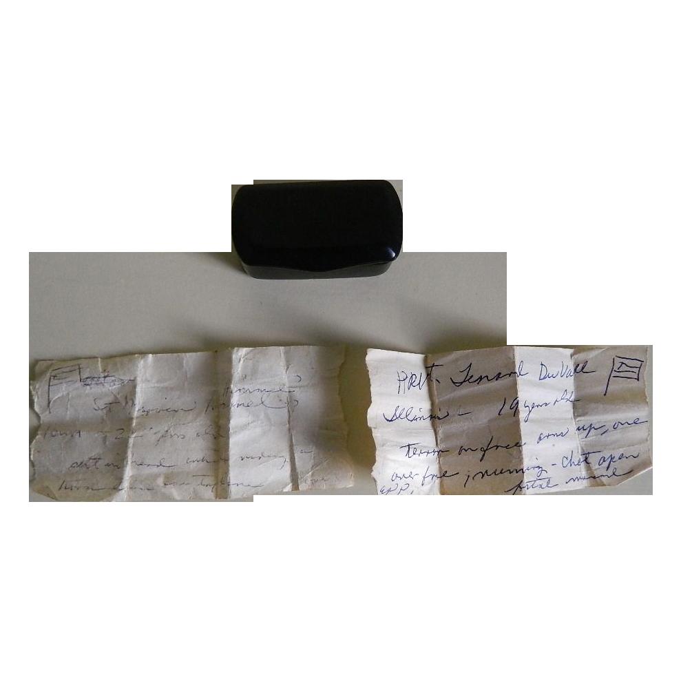 Antique  Civil War Era Papier Mache Snuff Box and Civil War Era Notations