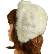 Girl's White Rabbit Fur Hat