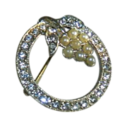 Clear Rhinestone Circle Brooch/Pin with Hanging Grapes of Simulated Pearls 1930-1935