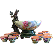 Exceptional Antique Tressemann and Vogt Limoges Punch Bowl with Pedestal Base and 10 Handled Cups