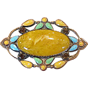 Depression-Era Costume Brooch with Czech Glass Cabochon Stone
