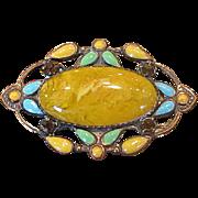 Depression-Era Costume Brooch with Czech Glass Cabochon Stone
