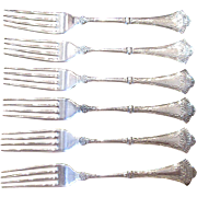 """Set of Six Victorian Rogers """"1847"""" Silverplate Dinner Forks"""