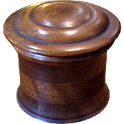Round Wooden Treen-Ware Box with Lid
