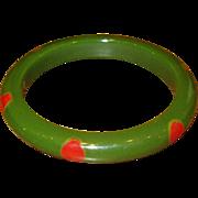 Vintage Bakelite Dot Bangle Bracelet in Dark Green & Red