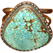 Heavy Silver & Turquoise Navaho Cuff Bracelet